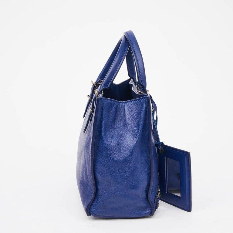 BALENCIAGA Blue A4 Mini Paper Leather Bag For Sale 3