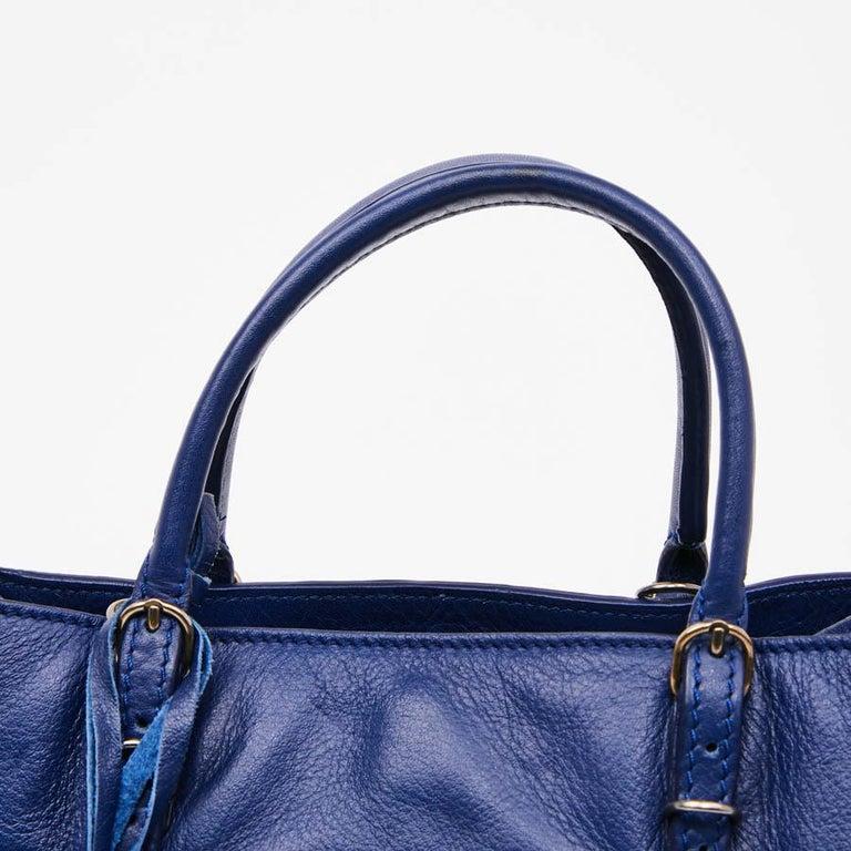BALENCIAGA Blue A4 Mini Paper Leather Bag For Sale 4