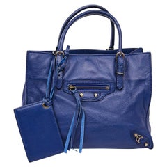 BALENCIAGA Blue A4 Mini Paper Leather Bag