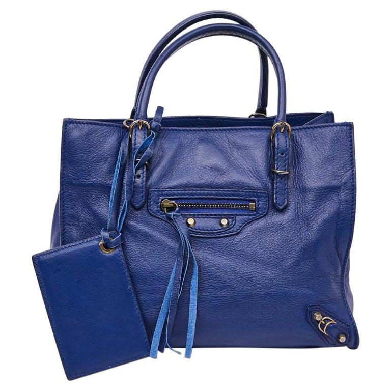 BALENCIAGA Blue A4 Mini Paper Leather Bag For Sale