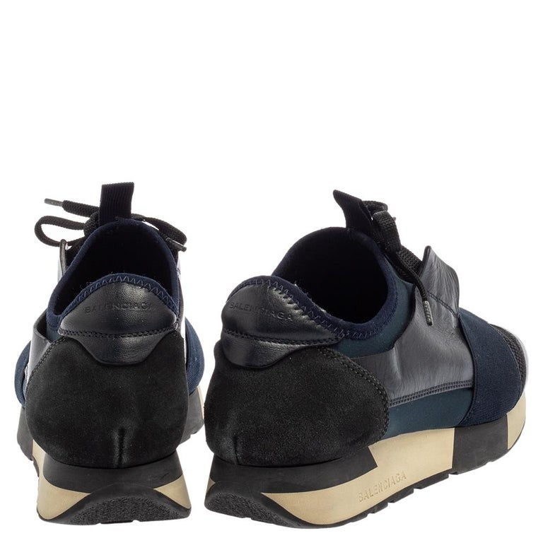 Balenciaga Blue/Black Mesh And Suede Leather Race Runner Low Top Sneakers Size 3 For Sale 3