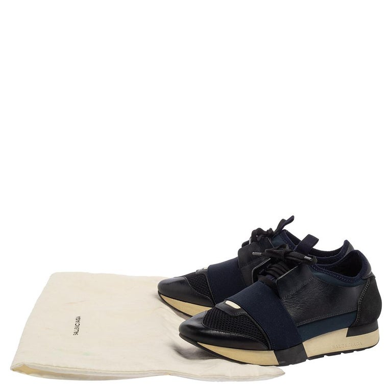 Balenciaga Blue/Black Mesh And Suede Leather Race Runner Low Top Sneakers Size 3 For Sale 4
