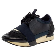 Balenciaga Blue/Black Mesh And Suede Leather Race Runner Low Top Sneakers Size 3
