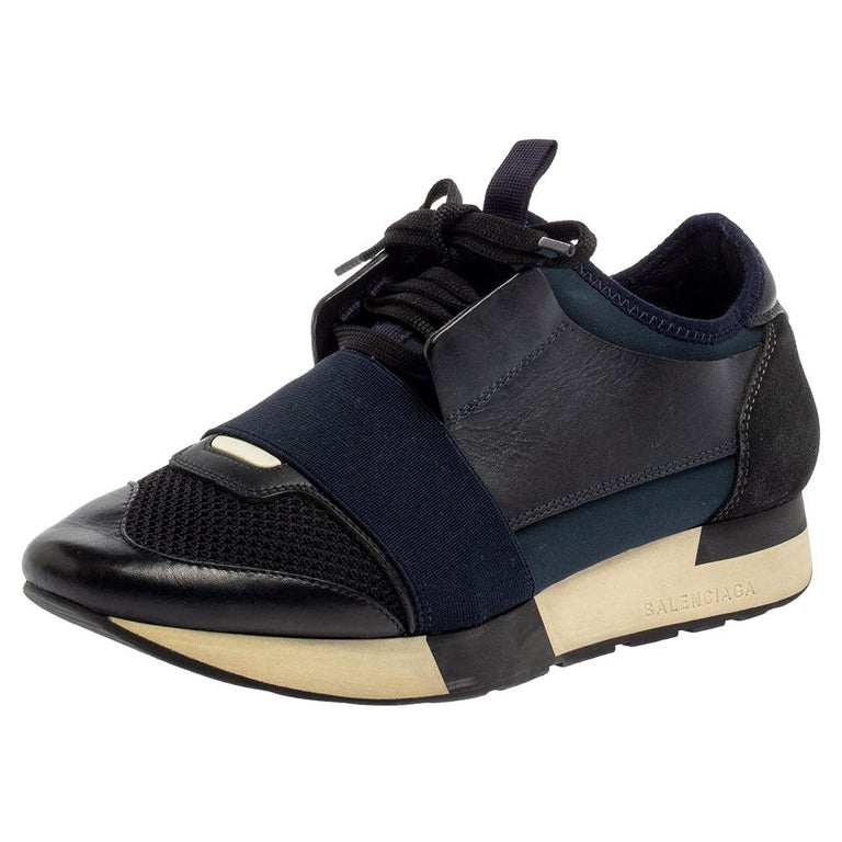 Balenciaga Blue/Black Mesh And Suede Leather Race Runner Low Top Sneakers Size 3 For Sale