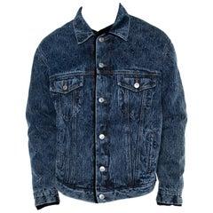 Balenciaga Blue Denim Faux Shearling Lined Oversized Jacket S