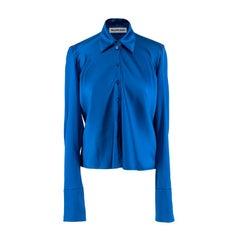 Balenciaga Blue Draped Satin Shirt