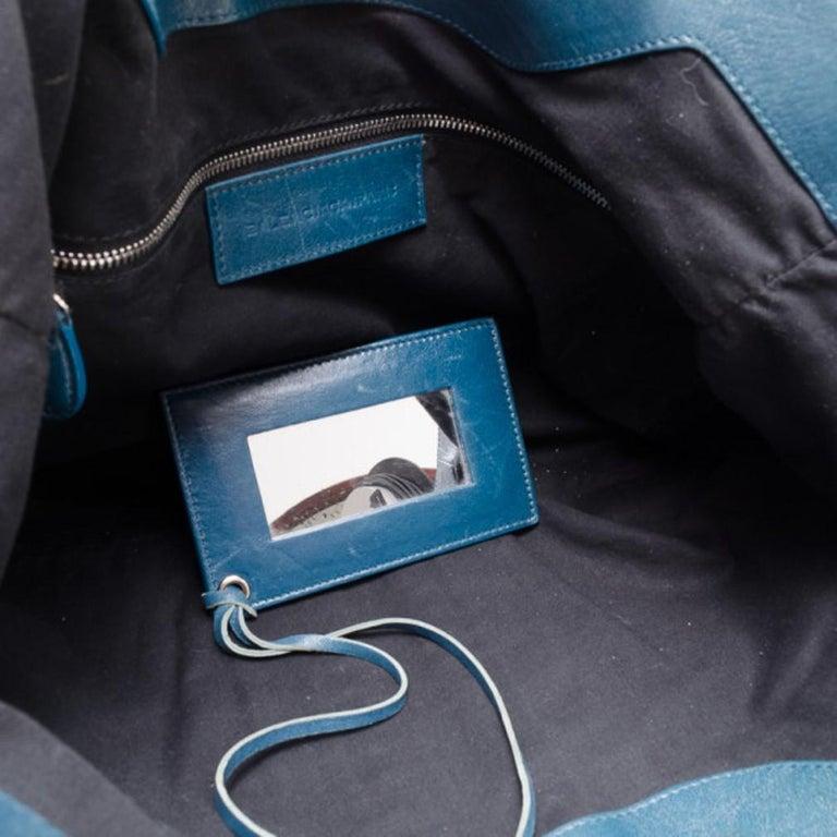 Balenciaga Blue Lambskin Sac Clous For Sale 5