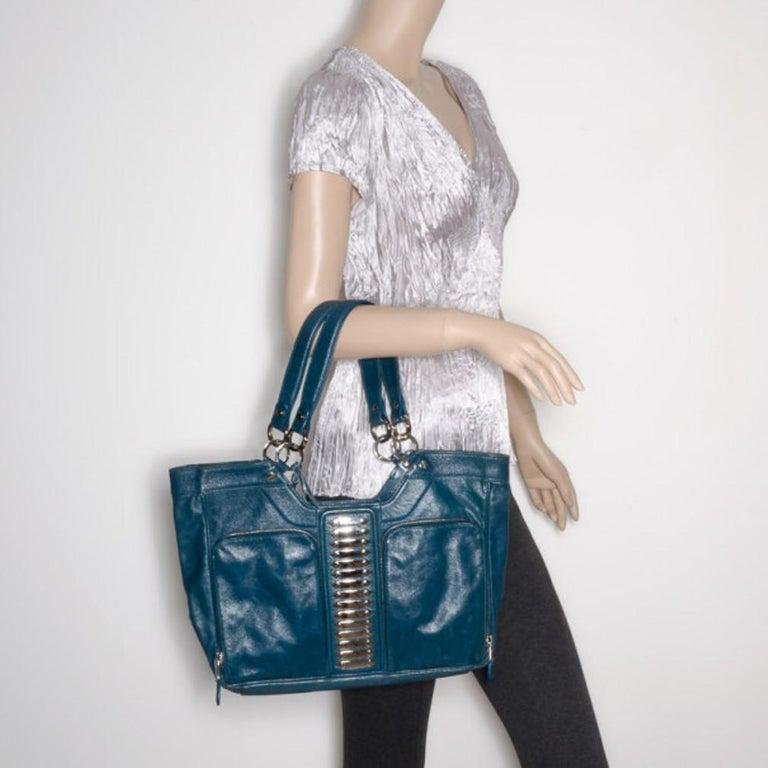 Black Balenciaga Blue Lambskin Sac Clous For Sale