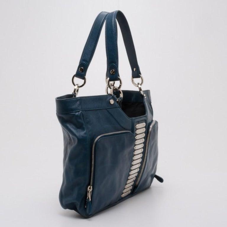 Balenciaga Blue Lambskin Sac Clous In Good Condition For Sale In Dubai, Al Qouz 2