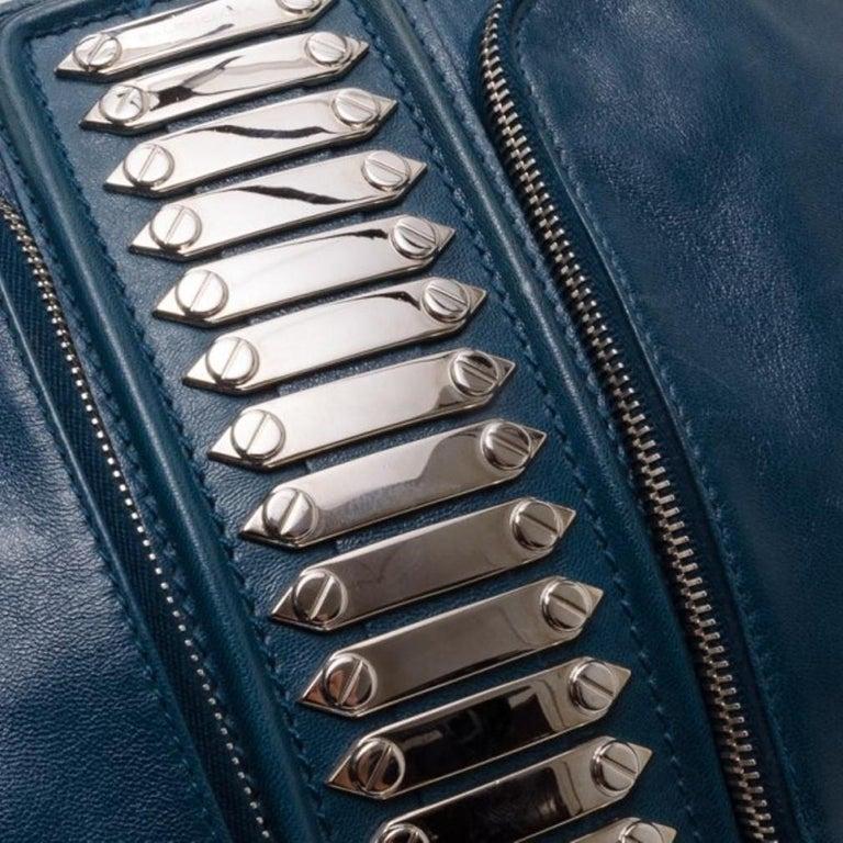 Balenciaga Blue Lambskin Sac Clous For Sale 1