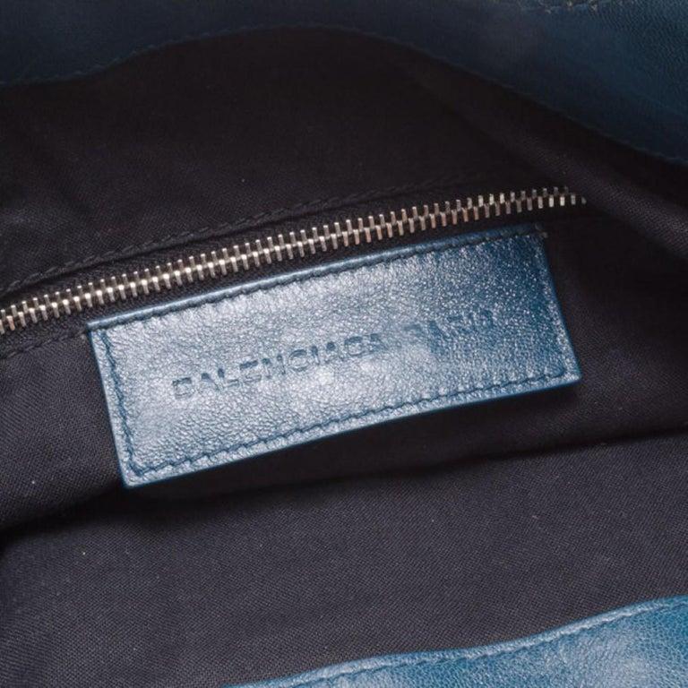 Balenciaga Blue Lambskin Sac Clous For Sale 3