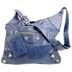 Balenciaga Blue Leather Besace Hobo Shoulder Messenger Bag
