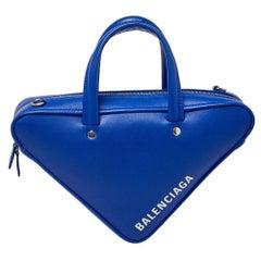Balenciaga Blue Leather Triangle Electric Duffle Bag
