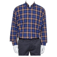 Balenciaga Blue Logo Print Checked Cotton Flannel Oversized Shirt M