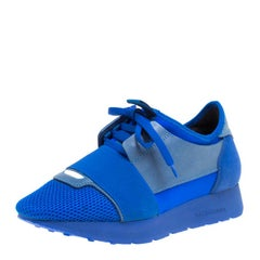 Balenciaga Blue Mesh And Suede Race Runner Sneakers Size 36