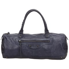 Balenciaga Blue Motocross Leather Handbag