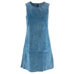 Balenciaga Blue Suede Sleeveless Mini Dress - Size US 8
