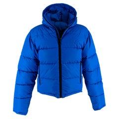 Balenciaga Blue Textured Nylon Puffer Jacket - EU44
