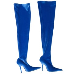 Balenciaga Blue Velvet Over-The-Knee Boots