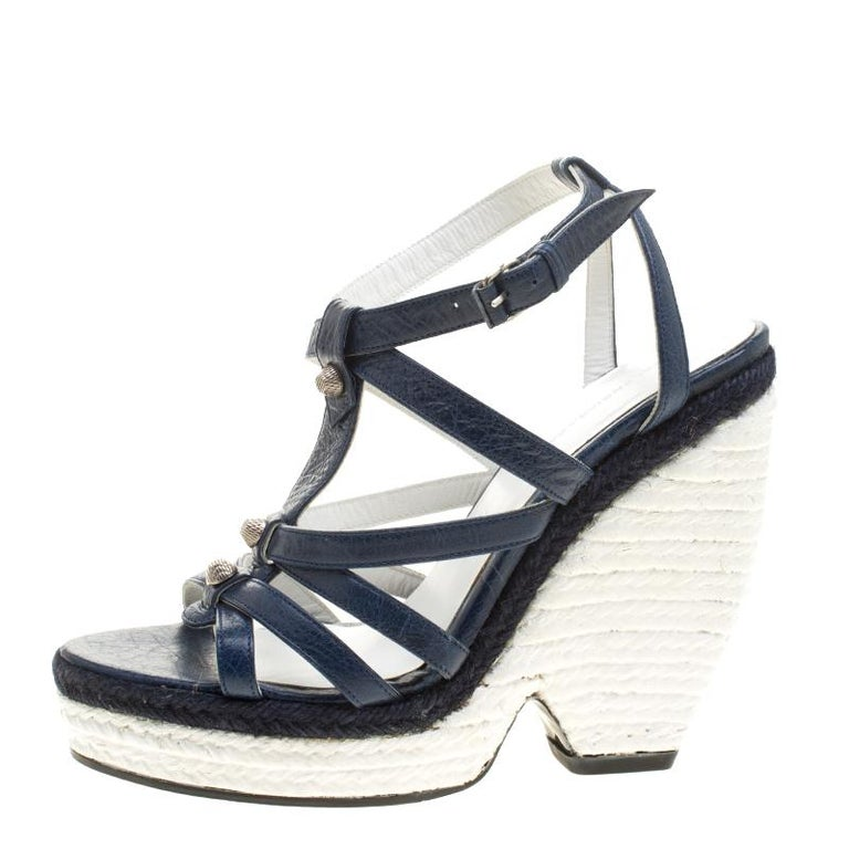 a36c09abb Gray Balenciaga Blue White Leather Espadrille Wedge Sandals Size 38 For Sale
