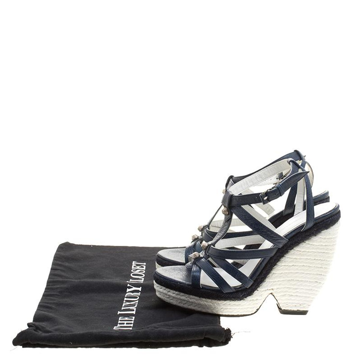 f5375b872 Balenciaga Blue White Leather Espadrille Wedge Sandals Size 38 For Sale at  1stdibs