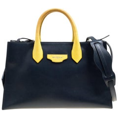 Balenciaga Blue/Yellow Leather Work S Top Handle Bag