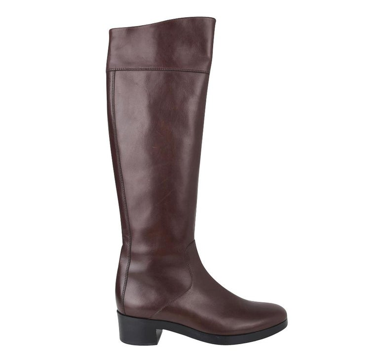 Balenciaga Boot Sleek Knee High Rich Cordovan 36.5 / 6.5 New In New Condition For Sale In Miami, FL