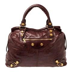 Balenciaga Bordeaux Leather GGH RTT Bag
