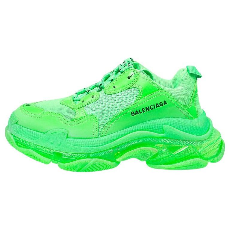 Balenciaga Bright Green Leather And Mesh Triple S Sneakers Size 40 For Sale