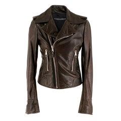Balenciaga Brown Asymmetric Leather Jacket  S 38