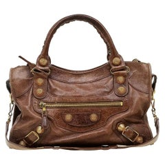 Balenciaga Brown Leather GH City Bag