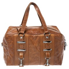 Balenciaga Brown Leather Perforated Hook Satchel