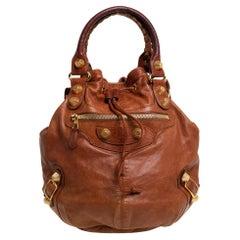 Balenciaga Brown Leather SGH Pompon Hobo
