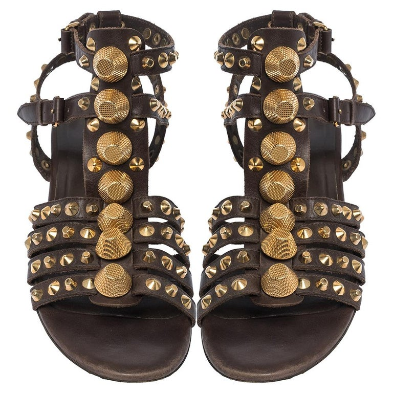 Black Balenciaga Brown Leather Studded Ankle Strap Flat Sandals Size 39.5 For Sale