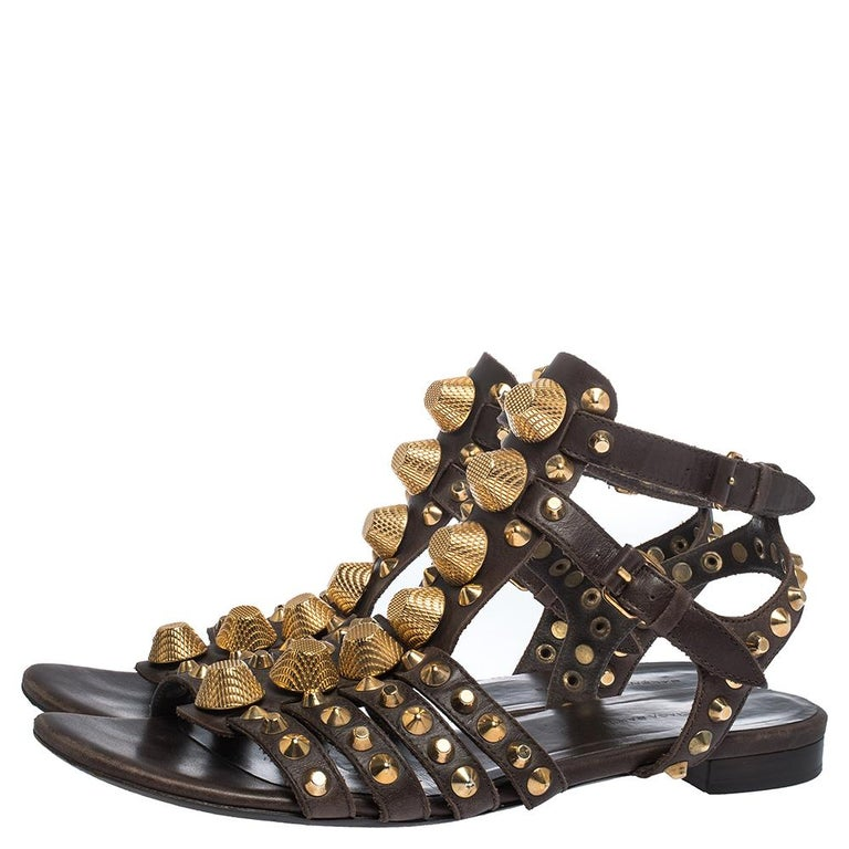 Women's Balenciaga Brown Leather Studded Ankle Strap Flat Sandals Size 39.5 For Sale