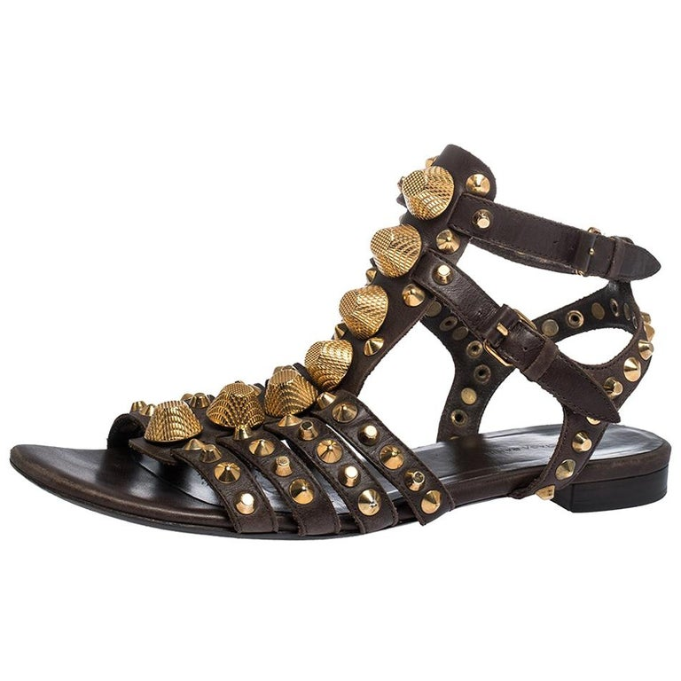 Balenciaga Brown Leather Studded Ankle Strap Flat Sandals Size 39.5 For Sale