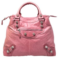 Balenciaga Bubble Gum Pink Leather Arena Giant Brief Tote