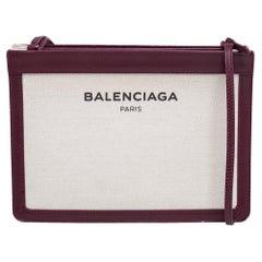 Balenciaga Burgundy/White Canvas and Leather Medium Navy Pouch Crossbody Bag