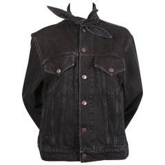 BALENCIAGA by Demna Gvasalia black denim jacket with 'scarf' collar - NEW