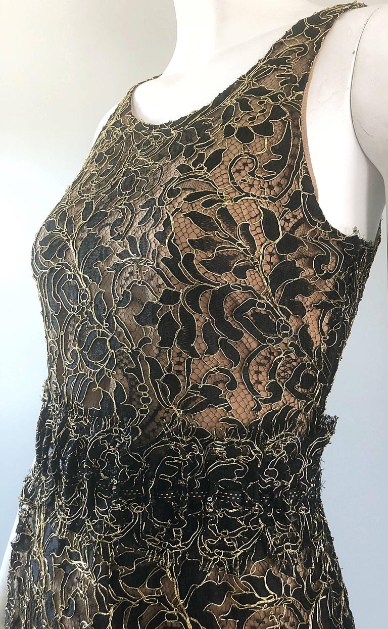 Balenciaga by Nicolas Ghesquiere Black + Gold + Nude Silk Chiffon Lace Dress For Sale 6