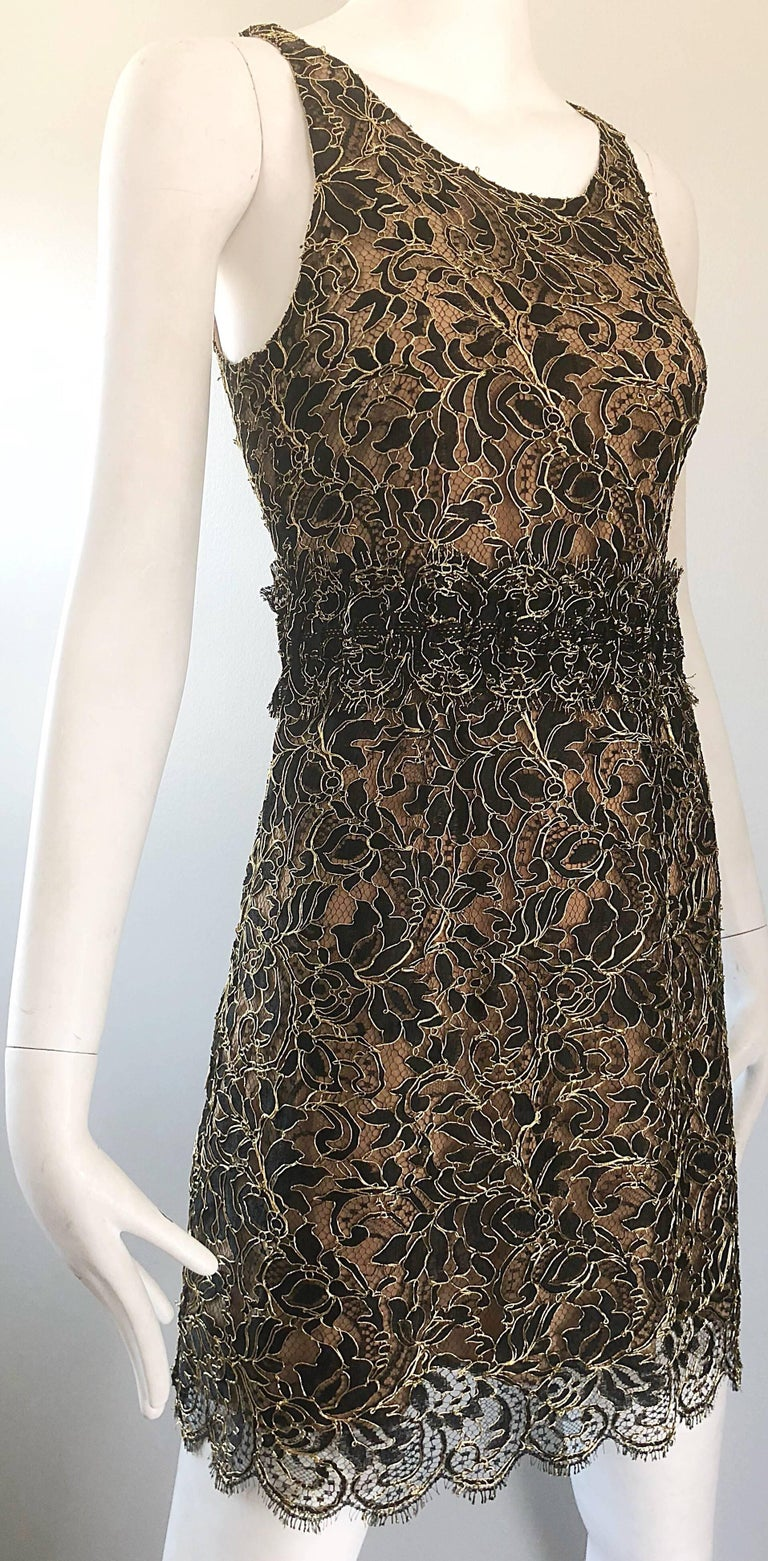 Balenciaga by Nicolas Ghesquiere Black + Gold + Nude Silk Chiffon Lace Dress For Sale 7
