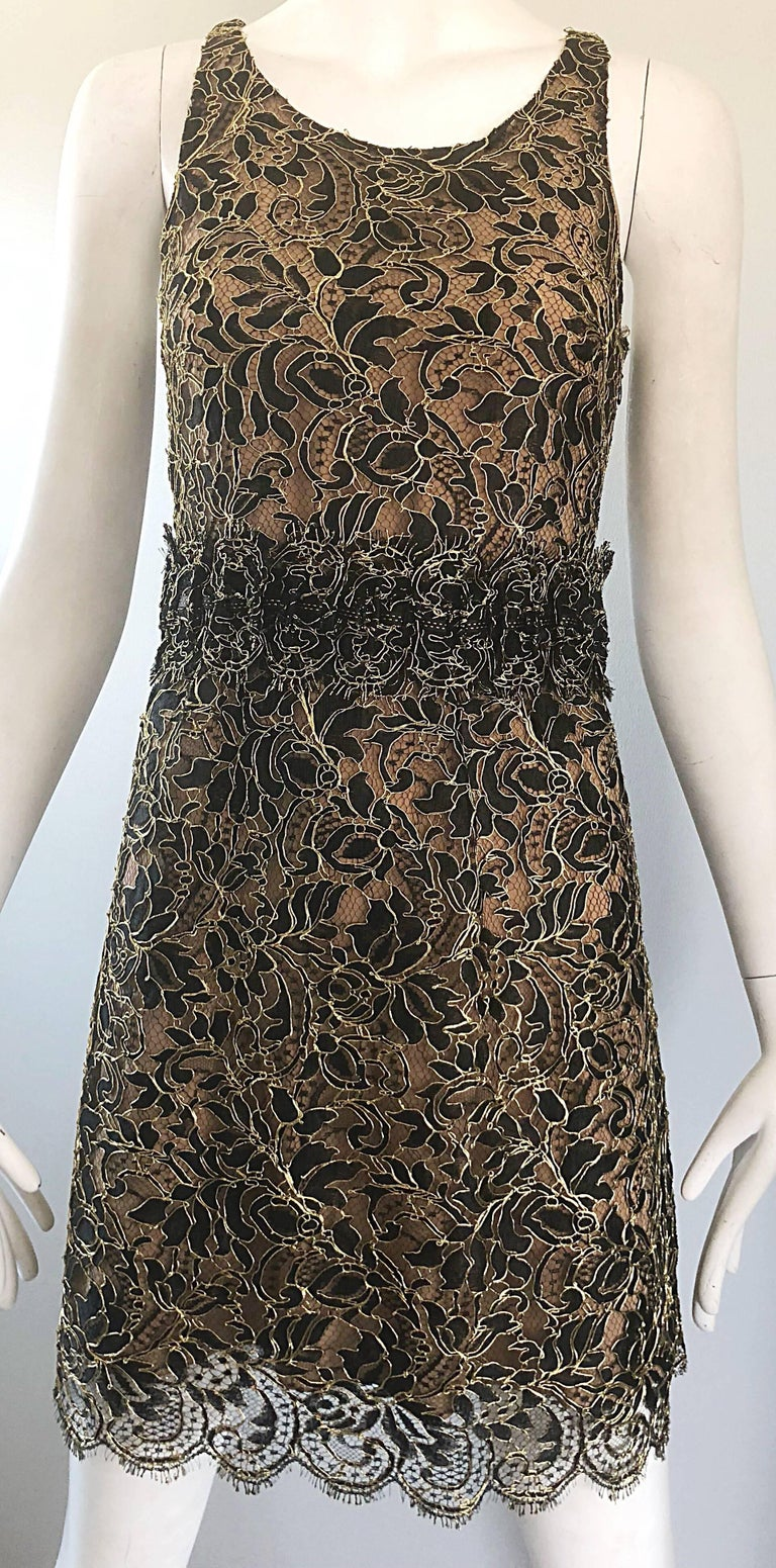 Balenciaga by Nicolas Ghesquiere Black + Gold + Nude Silk Chiffon Lace Dress For Sale 8