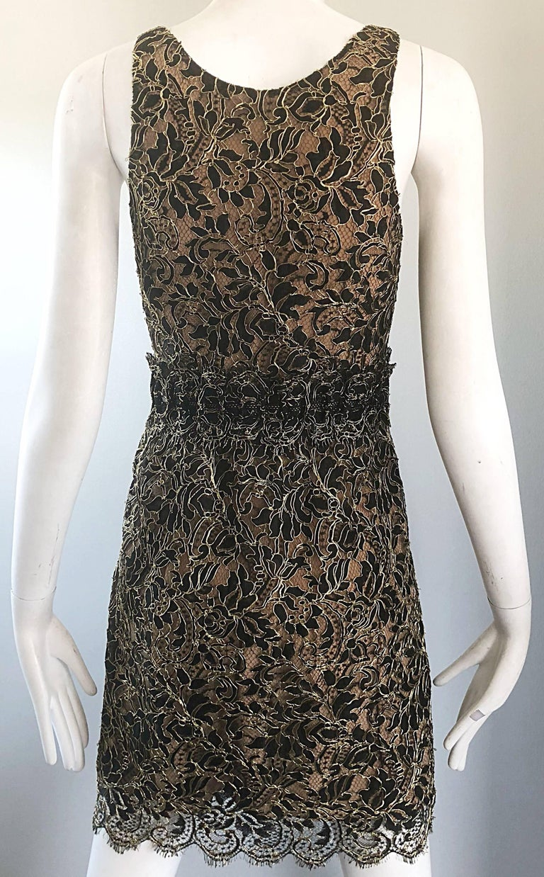 Balenciaga by Nicolas Ghesquiere Black + Gold + Nude Silk Chiffon Lace Dress For Sale 9