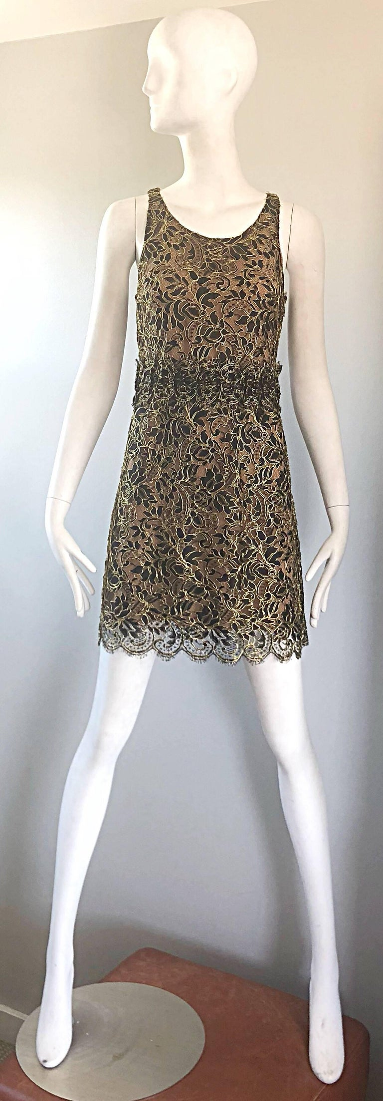 Balenciaga by Nicolas Ghesquiere Black + Gold + Nude Silk Chiffon Lace Dress For Sale 10