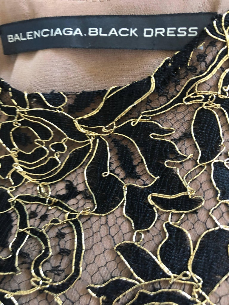 Balenciaga by Nicolas Ghesquiere Black + Gold + Nude Silk Chiffon Lace Dress For Sale 11