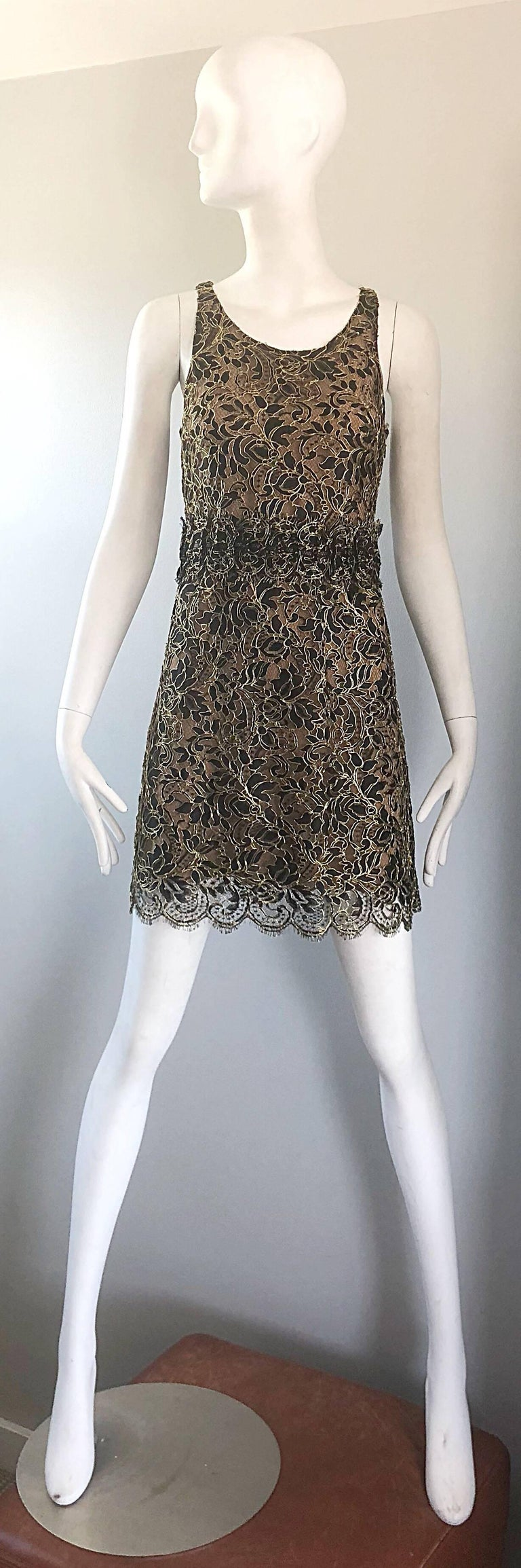 Gorgeous early 2000s BALENCIAGA by NICOLAS GHESQUIERE black, gold and nude silk chiffon lace cocktail dress! Features a nude silk chiffon underlay with black and gold French lace over. Balenciaga pieces from the Ghesquiere era are highly