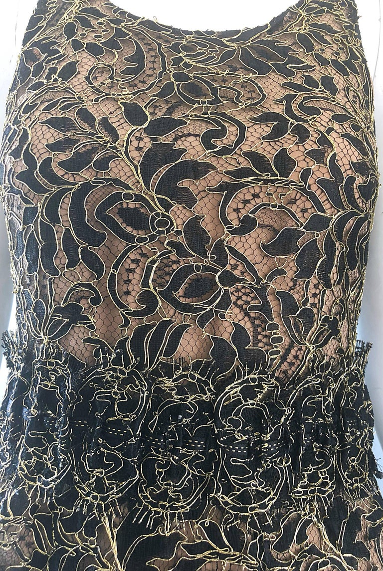 Balenciaga by Nicolas Ghesquiere Black + Gold + Nude Silk Chiffon Lace Dress In Excellent Condition For Sale In Chicago, IL