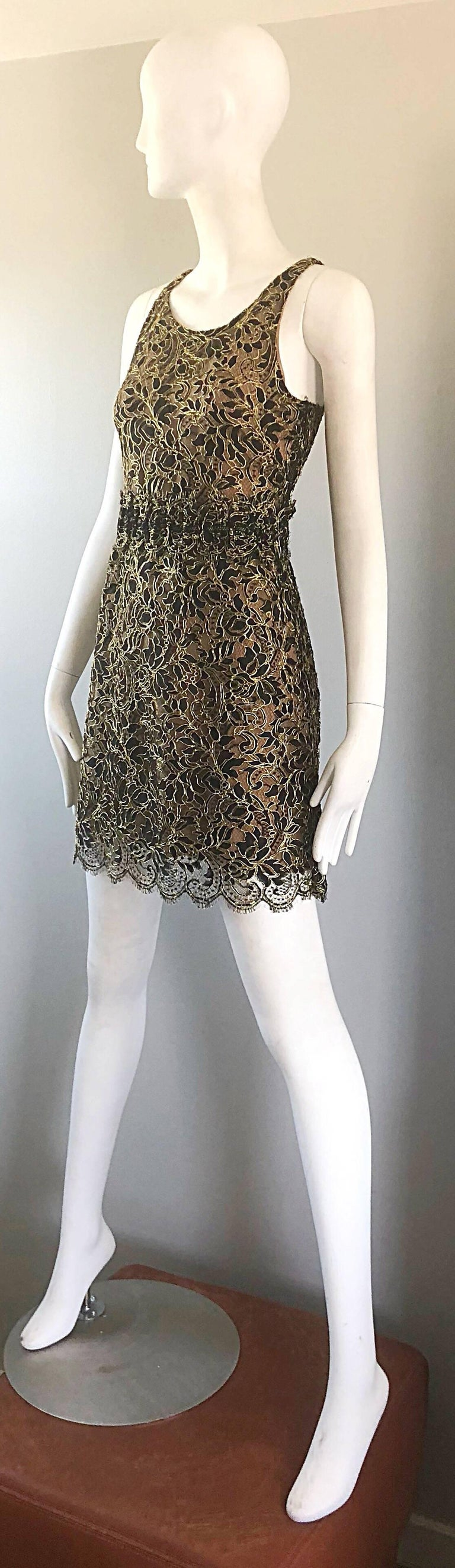 Women's Balenciaga by Nicolas Ghesquiere Black + Gold + Nude Silk Chiffon Lace Dress For Sale