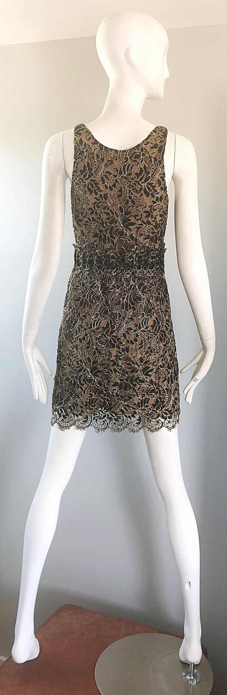 Balenciaga by Nicolas Ghesquiere Black + Gold + Nude Silk Chiffon Lace Dress For Sale 1