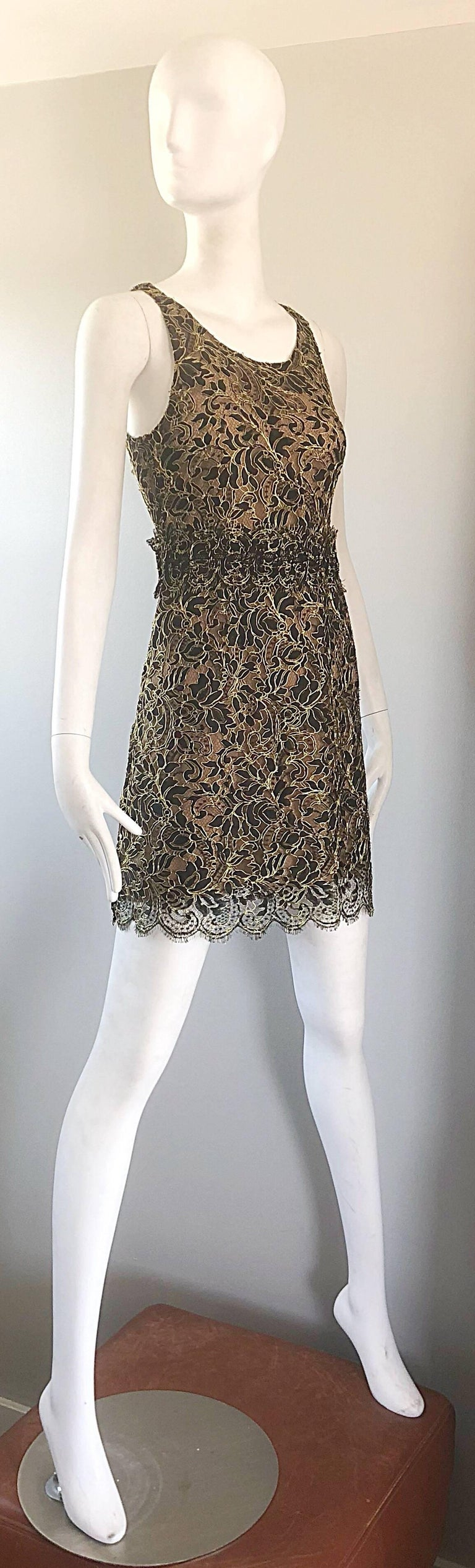 Balenciaga by Nicolas Ghesquiere Black + Gold + Nude Silk Chiffon Lace Dress For Sale 2